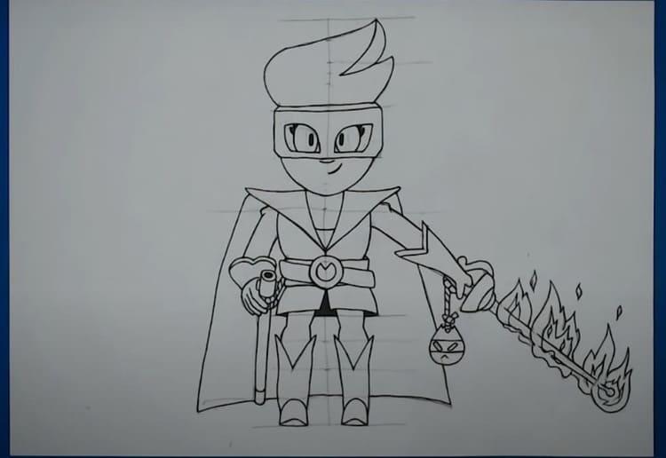 Как нарисовать Амбер Де Ла Вега из Бравл Старс