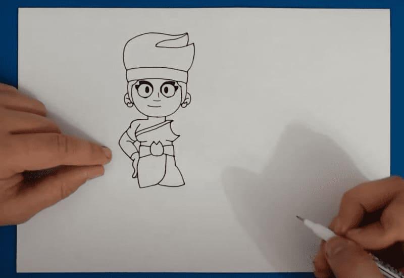 Как нарисовать Амбер из Бравл Старс карандашом легко и красиво поэтапно