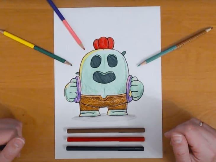 Как нарисовать Спайка из Бравл Старс карандашом поэтапно