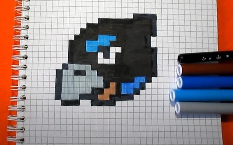 Как нарисовать Ворона Меха из Бравл Старс по клеточкам