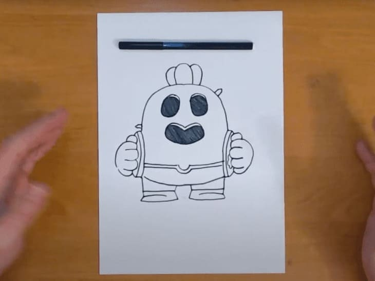Как нарисовать бравлера Спайка