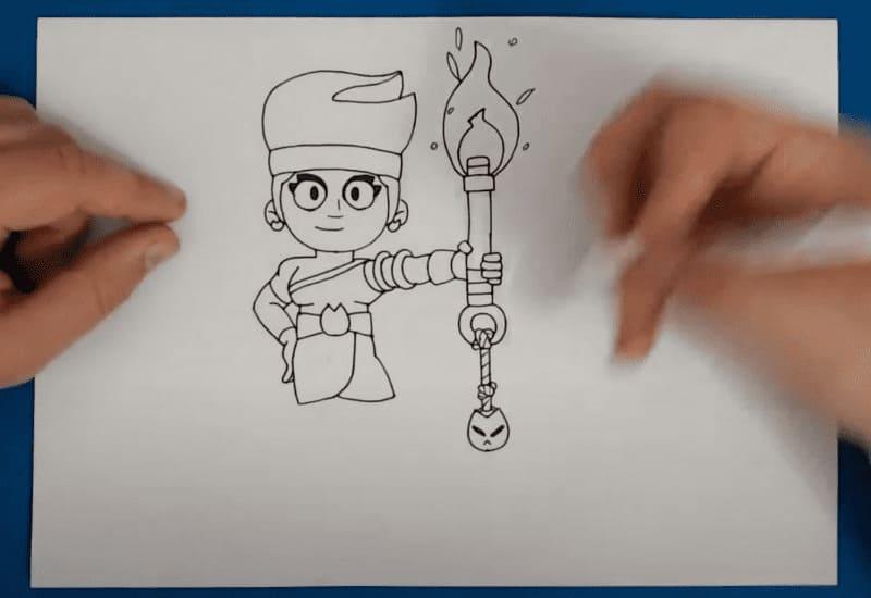 Как нарисовать эмодзи Амбер из Бравл Старс