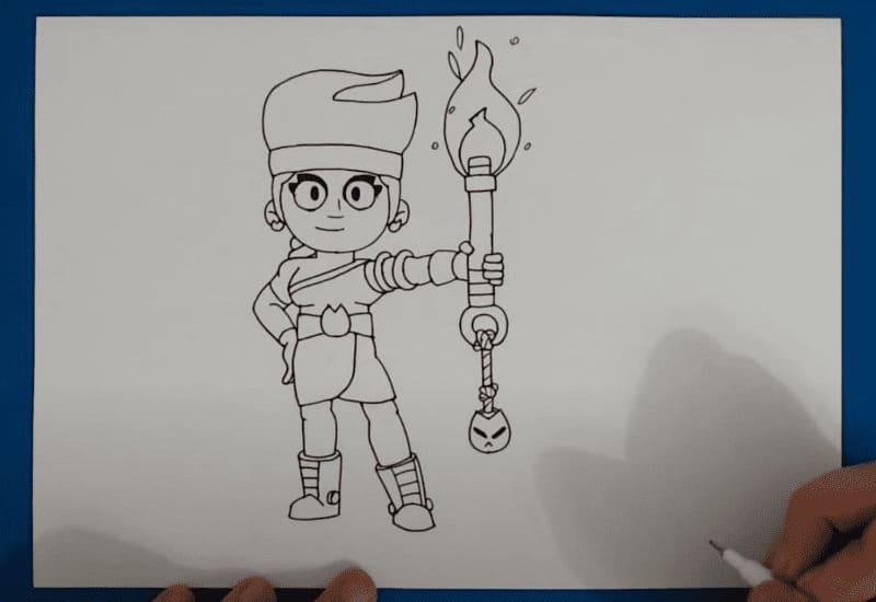 Как нарисовать иконку Амбер из Бравл Старс