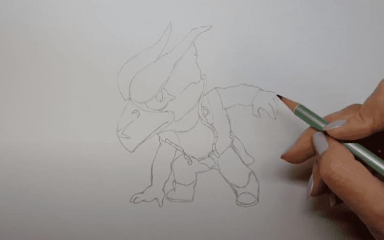 Как нарисовать темного Ворона меха из Бравл Старс