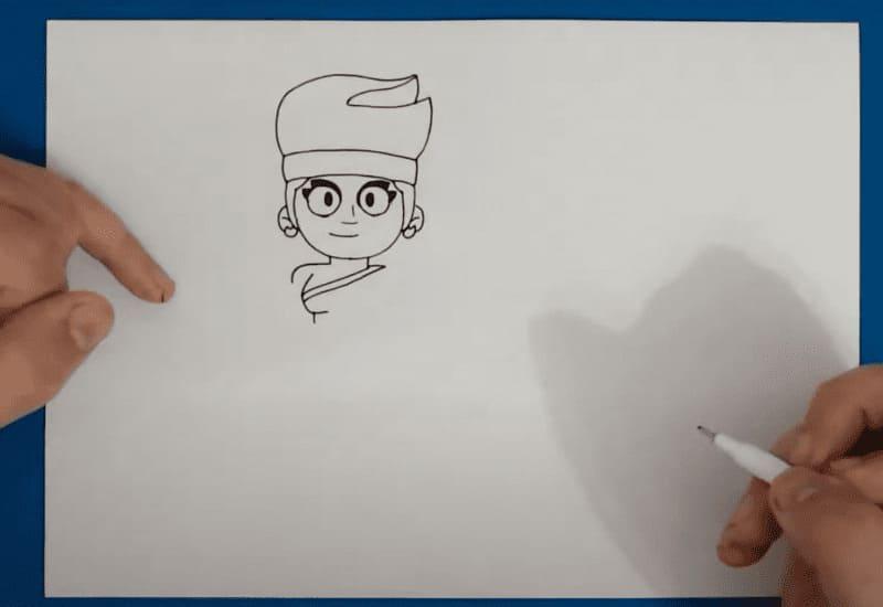 Как нарисовать значок Амбер из Бравл Старс