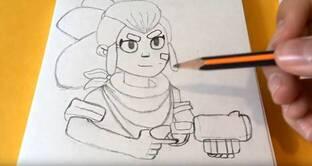 Шелли из Бравла рисуем карандашом